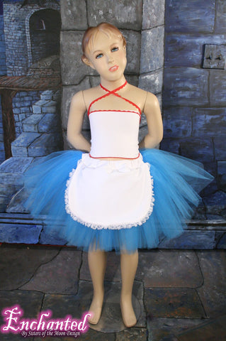 Alice -- Grow With Me tutu skirt turquoise and white apron  Size Child -Teen