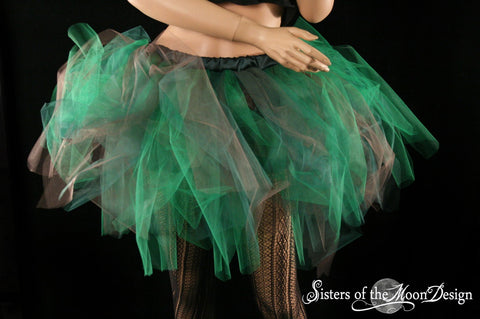 Forest Fairy tutu tulle skirt Streamer knee length brown and green adult halloween costume