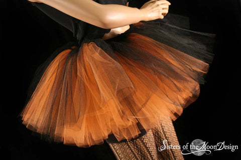 witch Layered two tone gothic adult dance tutu tulle skirt orange and black halloween dance costume