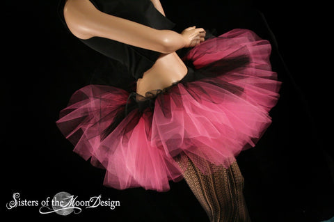 Layered two tone gothic dance tutu skirt adult Black and hot pink race run