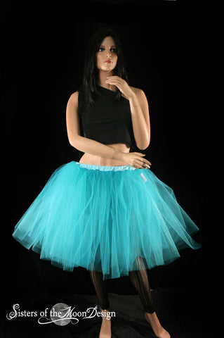 Teal Romance dance tutu skirt extra poofy knee length Adult -- You Choose Size -- Sisters of the Moon