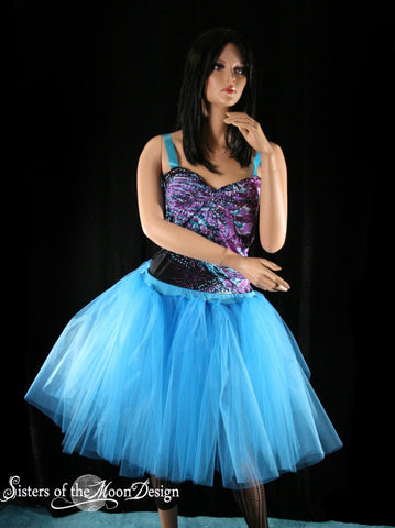 Turquoise Romance dance tutu skirt extra poofy knee length Adult--You Choose Size