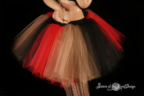 Royalty Monster tutu extra puffy Black red gold queen halloween costume dance party --You Choose Size -- Sisters of the Moon