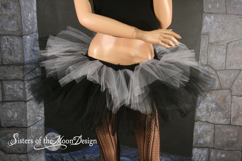 Layered two tone gothic adult dance tutu tulle skirt Black and silver dance race