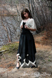 skirt Asymmetrical Steampunk Victorian lady Black with Lace  handkerchief --You Choose Size