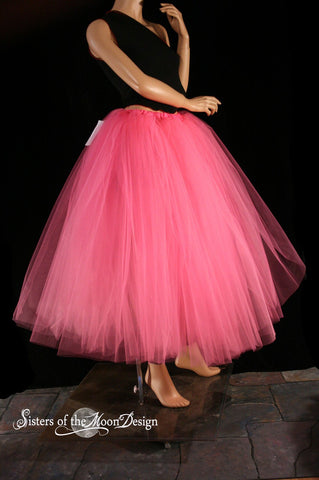 Floor length Adult tutu skirt Pink extra puffy petticoat two layer bridal wedding prom dance --You Choose Size -- Sisters of the Moon