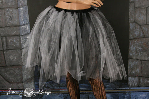Black and white Adult tutu Streamer knee length skirt gothic costume halloween dance witch sisters of the moon