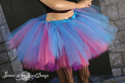 Fantasy Adult tutu skirt Peek a boo turquoise pink purple dance costume roller derby gogo run