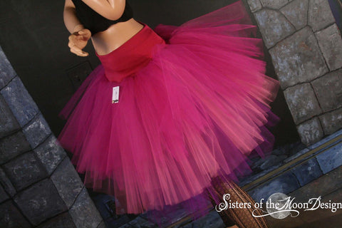 Adult tutu Three Layer Petticoat skirt Pixie fuchsia pink and purple dance costume