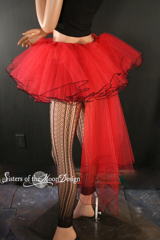 Red Bridal veil trail tutu skirt extra poofy Adult --You Choose Size -- Sisters of the Moon