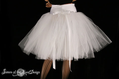 White Victorian Romance Tutu skirt extra poofy knee length Adult bridal formal dance wedding