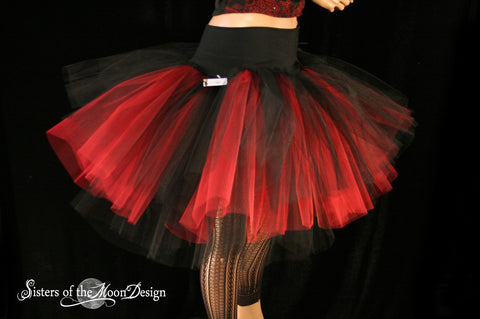 Hell Fire Three Layer Petticoat tutu skirt red black Adult gothic goth costume dance vampire