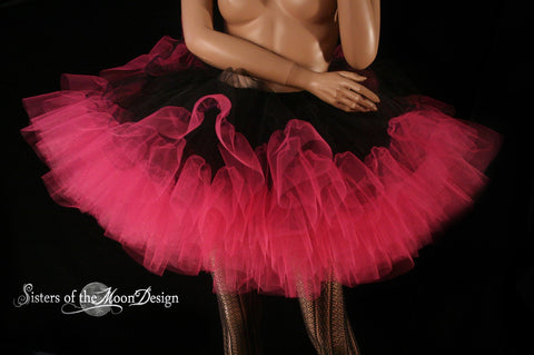 Shocking ultra huge adult Petticoat tutu skirt black and hot pink extra poofy