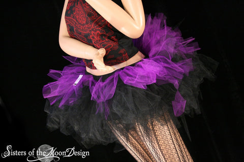 trashed Layered two tone gothic adult dance tutu Black and purple-- You choose size -- Sisters of the Moon