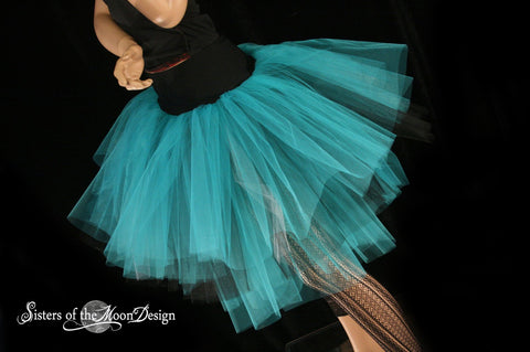 Turquoise, silver and black Three Layer Petticoat tutu skirt black Adult