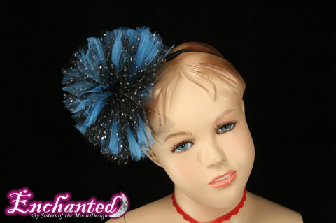 Rock Star tutu tulle hair bow pom pom blueand black perfect for children and adults -- Enchanted