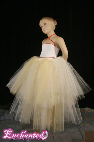 childs tutu skirt Bridal floor length two tier petticoat skirt Child - Teen -- Grow with Me
