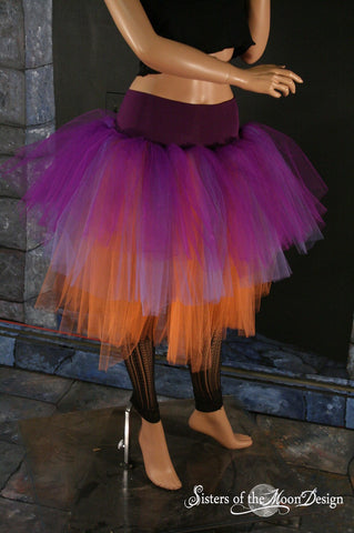 Witch Adult Tutu skirt purple, lavander and orange. Three layer knee lenght