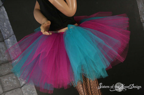 Adult tutu fuchsia and teal Monster skirt extra puffy dance costume roller derby style