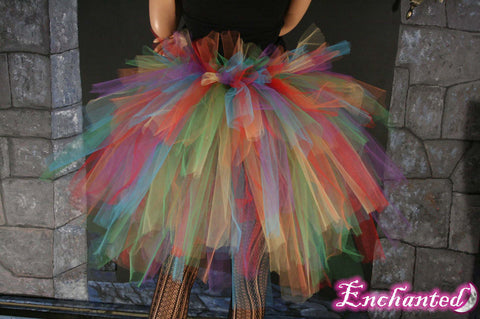 Rainbow burlesque tie on bustle costume Pride wedding costume performance