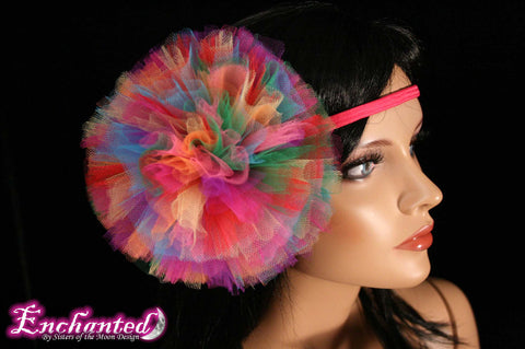 Rainbow tutu tulle hair bow pom pom perfect for children and adults