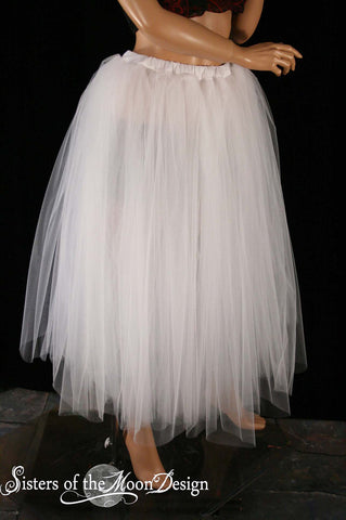 White ice Floor length Adult tutu skirt white extra puffy petticoat formal dance wedding bride dance  - You Choose Size - Sisters of the Moon
