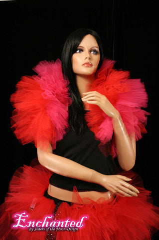 Valentine Fancy tulle boa red and pink tie on should wrap bolero adult tutu burlesque