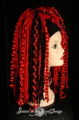 Red Black hair falls curling Brat clubbing rave belly dance cyber goth knotty synthetic dreads