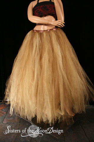 Antique Glimmer and gold Formal Bridal adult tutu wedding skirt floor length Streamer steampunk