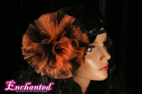 Halloween Pom pom headband tutu tulle hair bow pompom balck orange witch perfect for children and adults