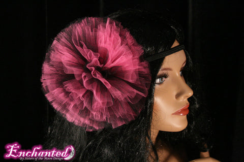 Dark vixen collection pink black tutu tulle hair bow pom pom perfect for children and adults