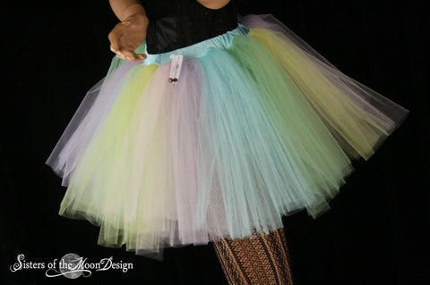 Pastel Rainbow Adult tutu skirt extra poofy pride costume halloween roller derby style