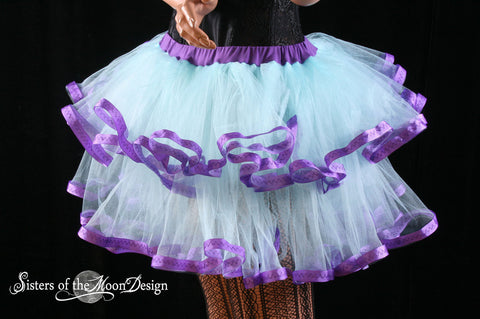 Adult tutu skirt Fairy little ruffles costume dance bridal wedding prom race run aqua purple