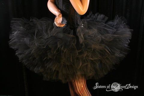 Mega huge black Petticoat tutu skirt extra poofy Adult ruffles dance costume halloween
