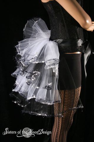 Fairy dance Bustle beautiful trimmed burlesque tie on white black