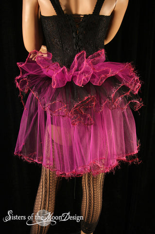 Fairy dance Bustle beautiful trimmed burlesque tie on Fuchsia black