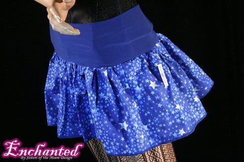 Blue Stars micro mini skirt Adult tutu topper circle skirt royal white