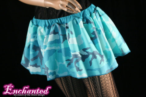 Blue Camo micro mini skirt Adult tutu topper circle skirt