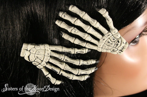 Skeleton hands hair clips with painted Black nails pair