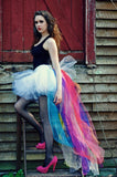 Rainbow bustle white tutu skirt extra poofy Bridal pride wedding formal dance costume carnival hi low -You Choose Size - Sisters of the Moon