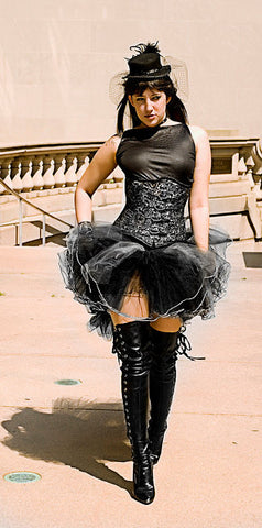 Empress bridal formal tutu skirt black silver extra poofy trail Adult gothic victorian costume party