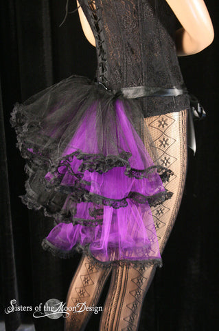 Gothic lolita Bustle ribbon tie on beautiful trimmed burlesque halloween costume formal