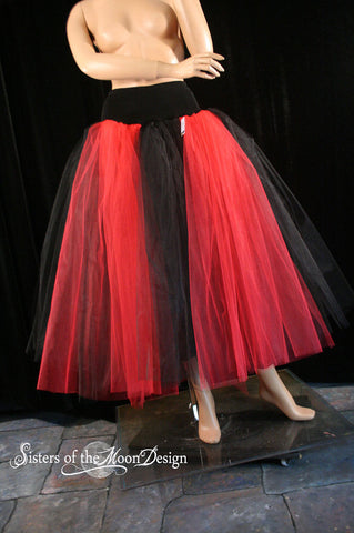 Red and Black stripe Floor length Adult tutu skirt extra puffy petticoat gothic bridal wedding prom