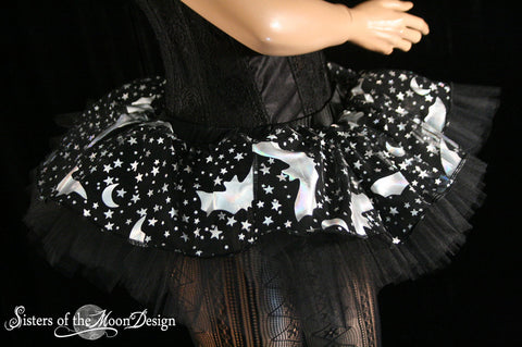 Sparkle Bat Adult tutu Mini Peek a boo style skirt dance costume roller derby halloween