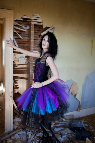 Sparkle motion tutu skirt extra puffy Black Purple and turquoise gothic dance mardi gras halloween