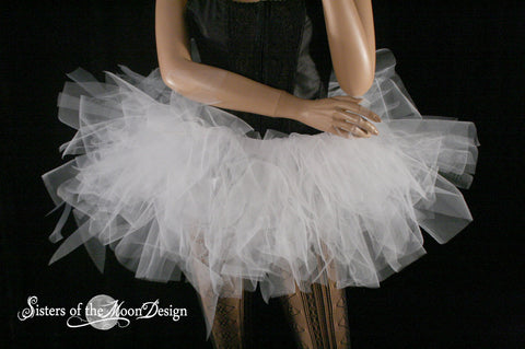 Trashy White tutu UV reactive extra poofy skirt Adult dance bridal roller derby halloween costume -- You choose Size -- Sisters of the Moon