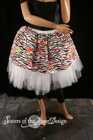 Tutu adult Skirt zebra UV white retro 80s hearts knee length rave club dance party carnival -You Choose Size - Sisters of the Moon
