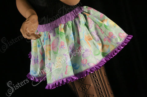 Spring butterfly micro mini skirt Adult tutu topper circle skirt green purple lace roller derby  -- You chose size -- SistersEnchanted