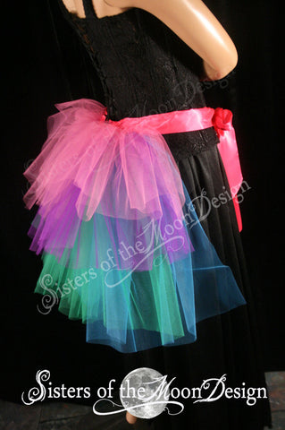 Beautiful burlesque tie on costume party Bustle in hot pink turquoise and purple