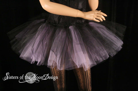 Lavender and black Two tone tutu adult skirt dance extra poofy petticoat roller derby rave run costume